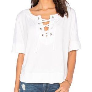 Splendid • White Cozy Lace Up Short Sleeve Top